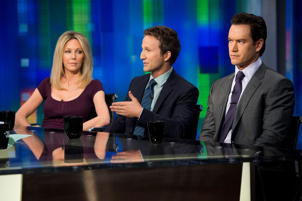 "Heather Locklear, Breckin Meyer, and Mark-Paul Gosselaar in the ""Franklin & Bash"" Season 3 Premiere, ""Coffee and Cream."""