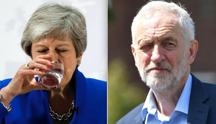 Theresa May and Jeremy Corbyn are facing a potential drubbing in the Euro elections (Getty)