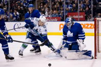 Vancouver Canucks center Bo Horvat (53) fails to make the shot against Toronto Maple Leafs goaltender Frederik Andersen (31) during third-period NHL hockey game action in Toronto, Saturday, Feb. 29, 2020. (Frank Gunn/The Canadian Press via AP)
