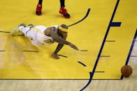 DeMarcus Cousins #0 of the Golden State Warriors dives for the ball against the Toronto Raptors in the first half during Game Three of the 2019 NBA Finals at ORACLE Arena on June 05, 2019 in Oakland, California. (Photo by Ezra Shaw/Getty Images)