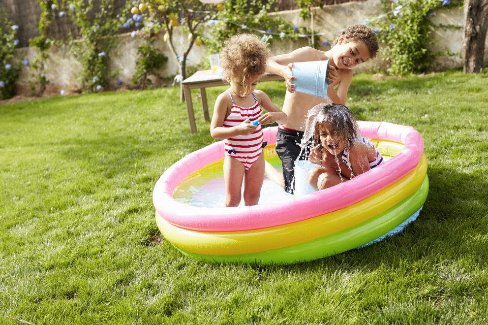 A mum has shared a simple yet genius paddling pool hack to keep the water bug-free between use [Photo: Getty]