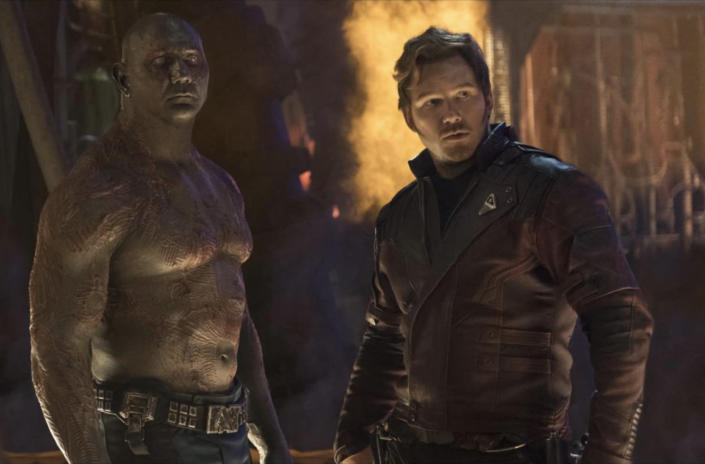 Drax (Dave Bautista) and Star-Lord (Chris Pratt) assess the damage of the Thanos-trashed Knowhere in <em>Infinity War</em>. (Photo: Marvel Studios)