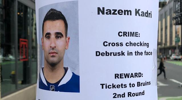 Nazem Kadri posters have been popping up in Boston. (@PierreVLeBrun/Twitter)