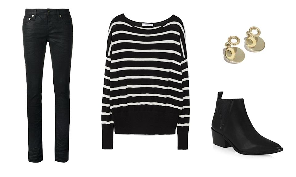 <p>Take a page out of Claire Danes's style book and go for a punk-rock inspired style with a pair of skinny jeans, a striped jumper, black booties, and gold accessories. </p>