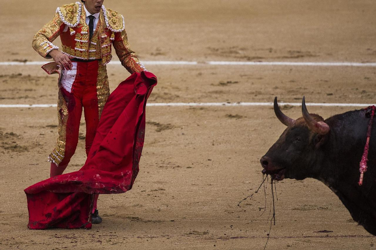 Spanish bullfighter Jimenez Fortes, kills a Los Chospes ranch fighting bull during a bullfight at Las Ventas bullring in Madrid, Spain, Tuesday, May 20, 2014. Bullfighting is a traditional spectacle in Spain and the season runs from March to October. (AP Photo/Andres Kudacki)
