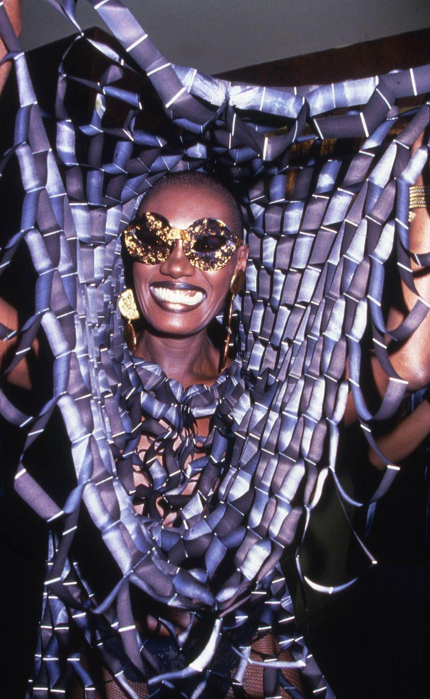 <p>Grace Jones smiles while partying at Studio 54 in New York, 1978.</p>