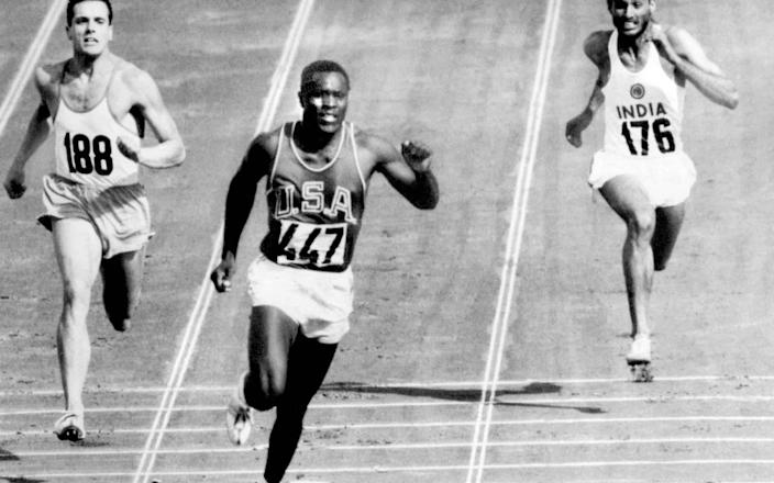 Rafer Johnson winning the fourth heat of the decathlon 100 metres at the Rome Olympics in 1960 - AP/OLYMPIC POOL PHOTO