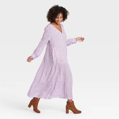 <p>Step into spring with confidence in this <span>A New Day Long Sleeve Tiered Dress</span> ($28).</p>