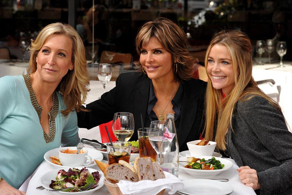 "Lisa Rinna and close friends (Denise Richards and Lara Spencer) smile for the paparazzi during a girl time lunch as seen on ""Harry Loves Lisa"""
