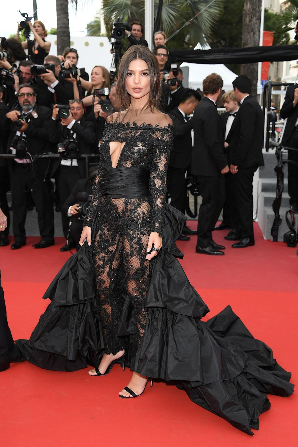 <p>At the Cannes Film Festival, Emily demanded attention in a lace bodysuit and enormous train, custom made by Peter Dundas. This would surely look like Halloween-gone-wrong on anyone else.<br>[Photo: Getty] </p>