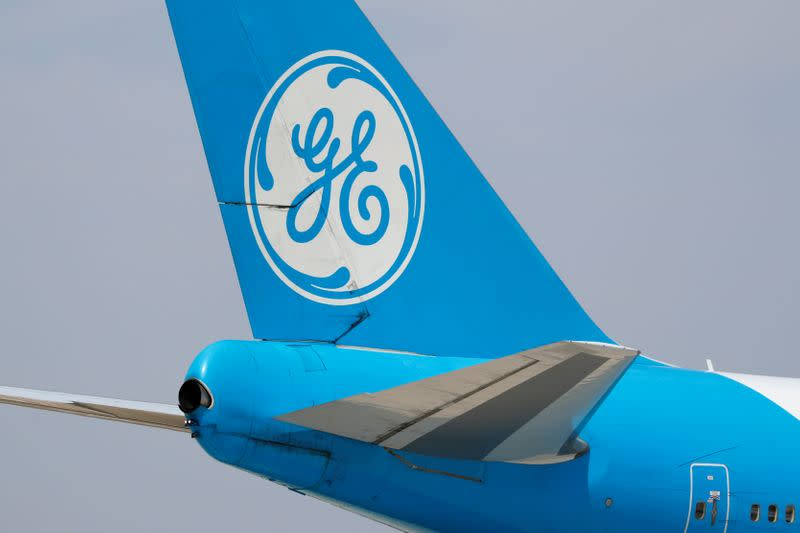 A General Electric aircraft used for testing jet engines is shown at Victorville Airport in Victorville, California