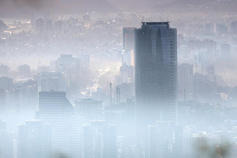 Smog over Santiago, Chile, in July 2018
