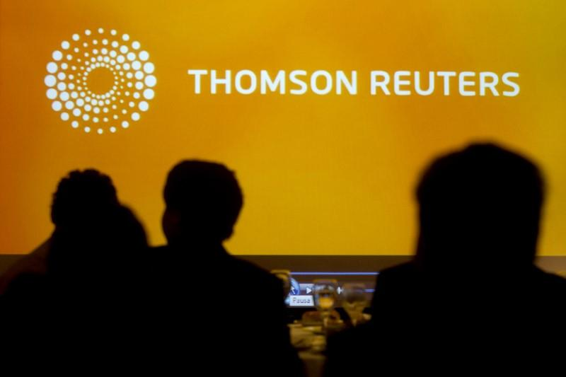 Logo of Thomson Reuters is seen during the Reuters Economic Forum at Santiago