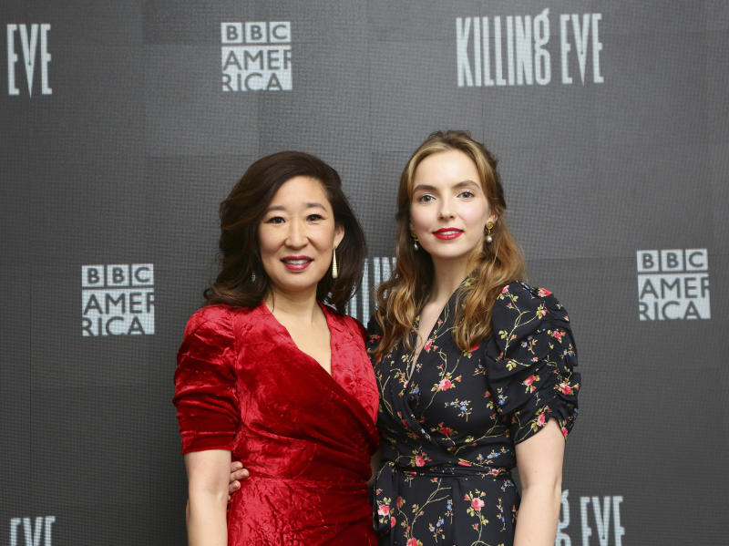 IMAGE DISTRIBUTED FOR BBC AMERICA - Sandra Oh, left, and Jodie Comer, right, arrive at BBC AMERICA's Killing Eve SAG-AFTRA Foundation Screening and Q&A event on Wednesday, April 4th, 2018, in New York. Killing Eve premieres on BBC AMERICA on Sunday, April 8th. (Photo by Stuart Ramson/BBC AMERICA via Invision/AP Images)
