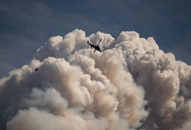 A helicopter carrying a water bucket flies past a pyrocumulus cloud, also known as a fire cloud, produced by the Lytton Creek wildfire burning in the mountains above Lytton, B.C., on Aug. 15.  (Darryl Dyck/The Canadian Press - image credit)
