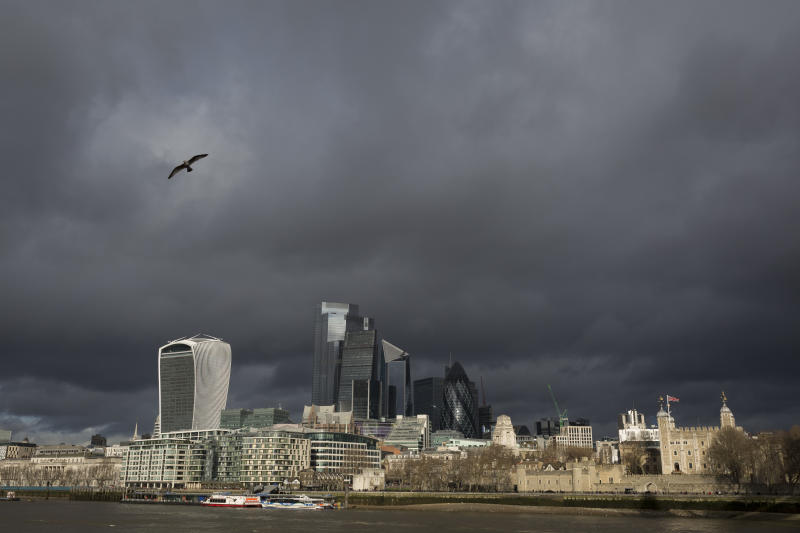 Weeks before the UK's Brexit from the European Union (on 31st January 2020), a wide cityscape of the Tower of London (far right) and the City of London, the capital's financial district, under a darkening sky, on 17th January 2020, in London, England. (Photo by Richard Baker / In Pictures via Getty Images)