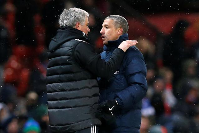Soccer Football - FA Cup Quarter Final - Manchester United vs Brighton & Hove Albion - Old Trafford, Manchester, Britain - March 17, 2018 Manchester United manager Jose Mourinho and Brighton manager Chris Hughton after the match REUTERS/Andrew Yates