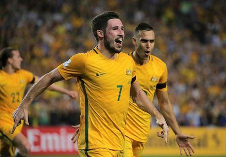Football Soccer - Australia vs United Arab Emirates - 2018 World Cup Qualifying Asian Zone - Group B - Sydney Football Stadium, Sydney, Australia - 28/3/17 - Australia's Mathew Leckie celebrates his goal against UAE. REUTERS/Steven Saphore/ Files