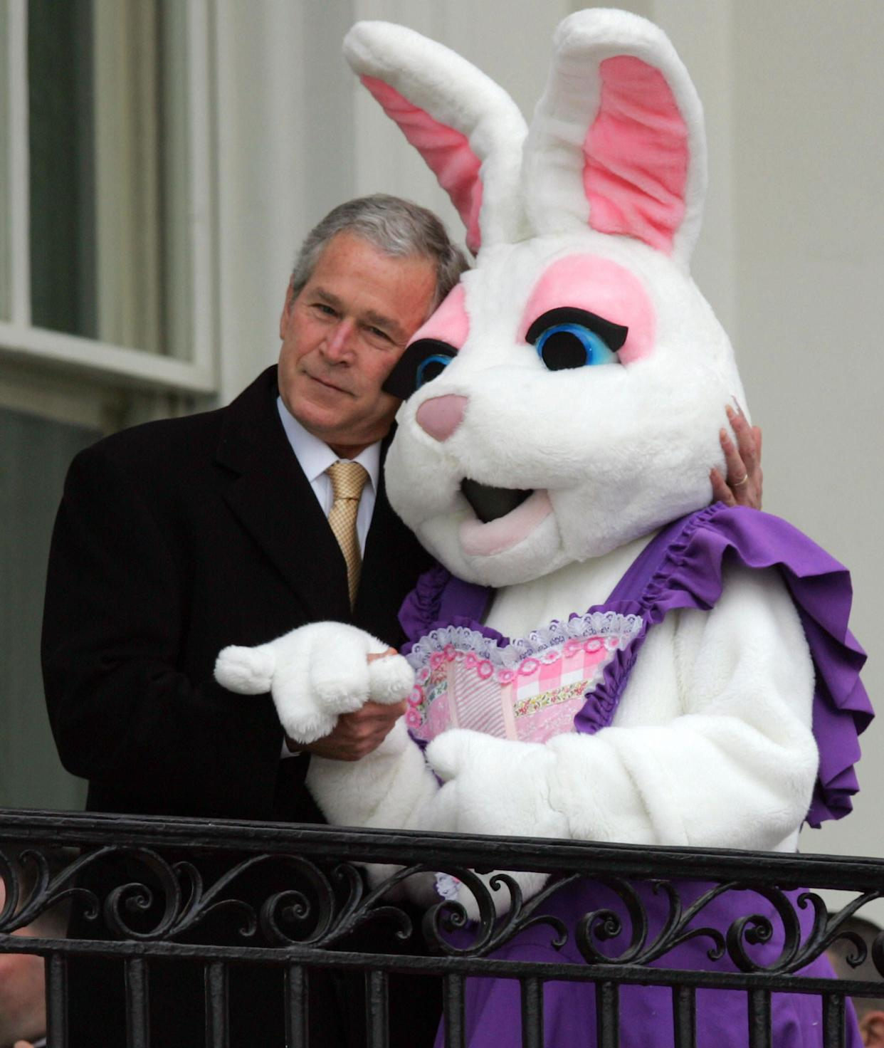 President George W. Bush hugsthe Easter Bunnyduring the annual Easter Egg Roll on the South Lawn of the White House on March 24, 2008.