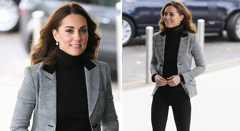 Kate Middleton wore a polished but low-key look for the engagement in Essex. [Photo: Getty]mid
