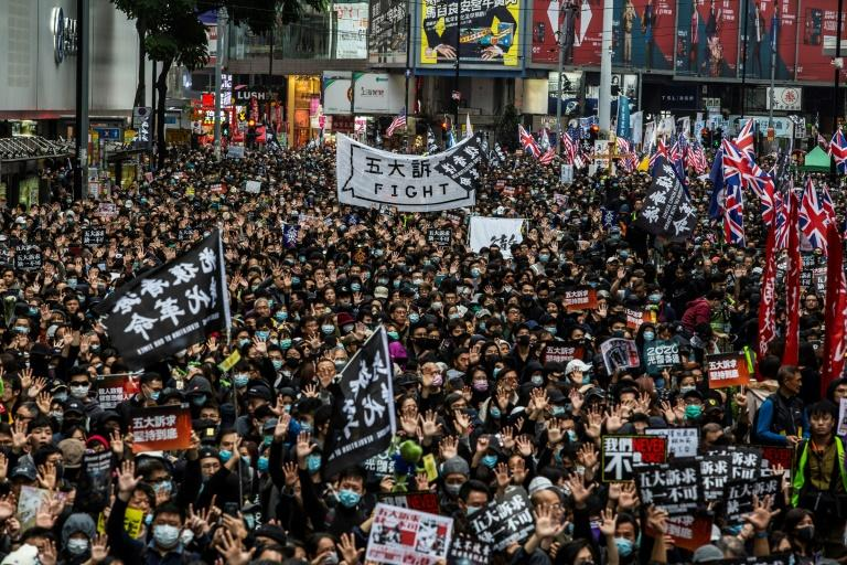 Hong Kong was hit by months of massive and sometimes violent protests sparked by a now-abandoned bill to allow extraditions to China