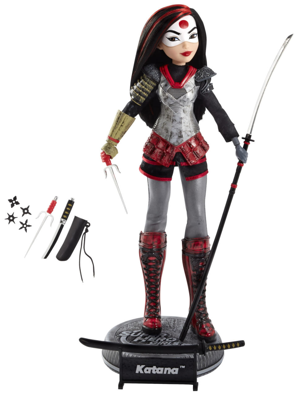 <p>One of the actual heroes who tags along with the otherwise villainous Squaddies, Katana is depicted here in the style of DC's <i>Super Hero Girls</i> line of toys, comics, and shorts. The 12-inch doll is armed with her trademark sword and other tools of the trade. ($40) </p>