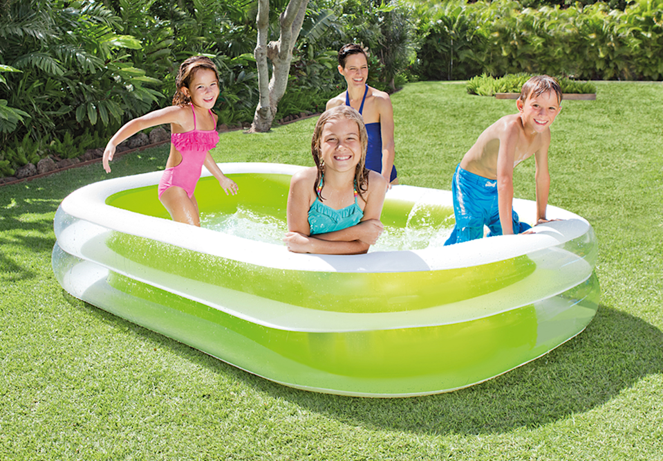 """<br><br><strong>Intex</strong> Inflatable Swim Center Lounge Pool, 103"""" x 69"""" x 22"""", $, available at <a href=""""https://go.skimresources.com/?id=30283X879131&url=https%3A%2F%2Fwww.walmart.com%2Fip%2FIntex-Inflatable-Swim-Center-Family-Lounge-Pool-103-x-69-x-22%2F19414899"""" rel=""""nofollow noopener"""" target=""""_blank"""" data-ylk=""""slk:Walmart"""" class=""""link rapid-noclick-resp"""">Walmart</a>"""