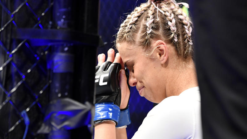 Paige VanZant, pictured here in tears before her fight against Amanda Ribas at UFC 251.