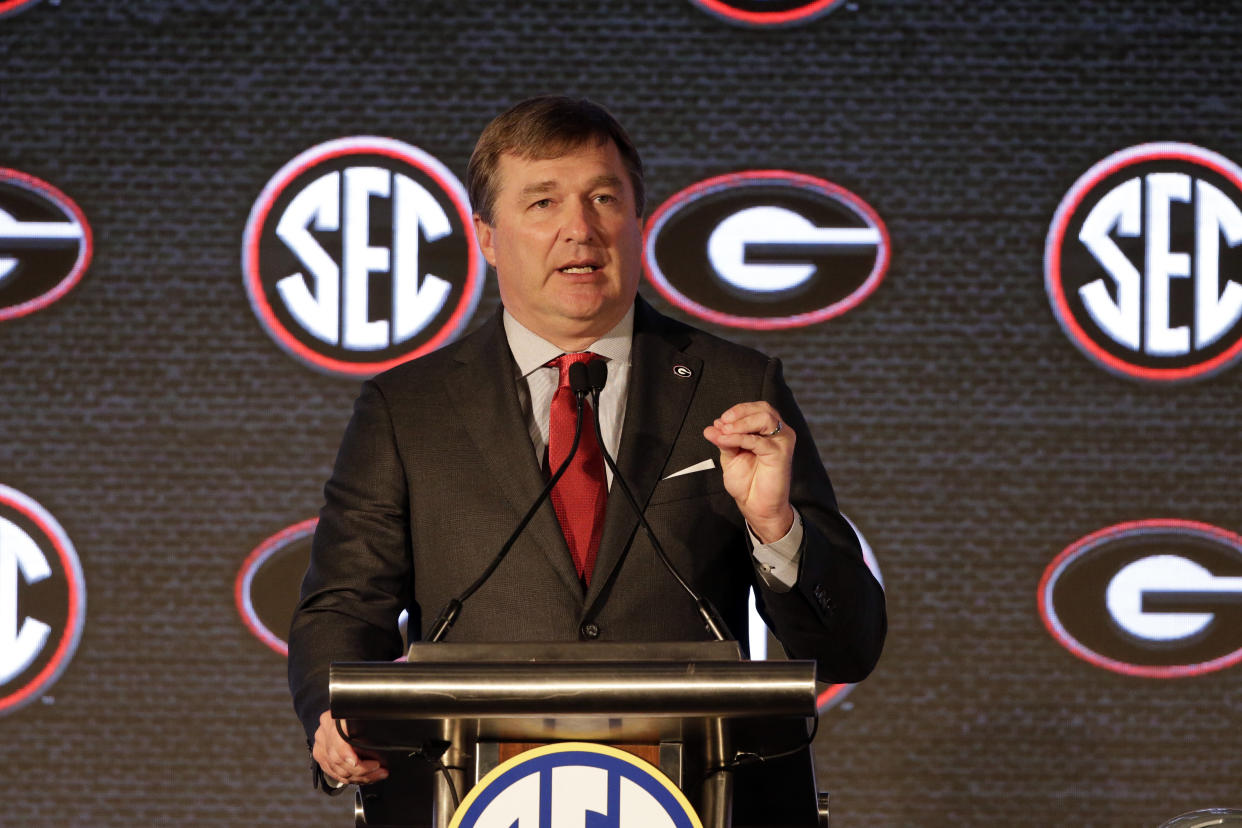 Georgia head coach Kirby Smart speaks to reporters during the NCAA college football Southeastern Conference Media Days Tuesday, July 20, 2021, in Hoover, Ala. (AP Photo/Butch Dill)