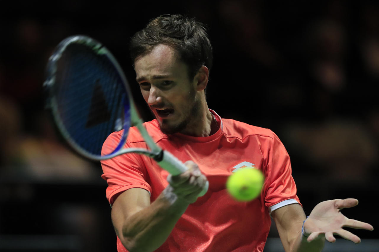 Daniil Medvedev of Russia plays a shot against Gael Monfils of France in the semi-finals of the ABN AMRO world tennis tournament at Ahoy Arena in Rotterdam, Netherlands, Saturday, Feb. 16, 2019. (AP Photo/Peter Dejong)