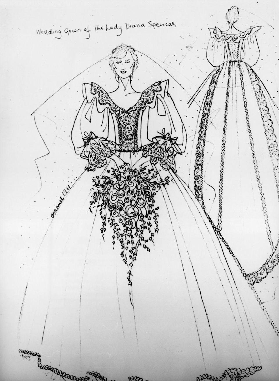 <p>Husband and wife designers David and Elizabeth Emanuel were tapped to design Lady Di's dreamy taffeta gown. The designs were kept secret until the day of the ceremony, when the press was given a sketch of what they'd see on the steps of St. Paul's Cathedral. </p>