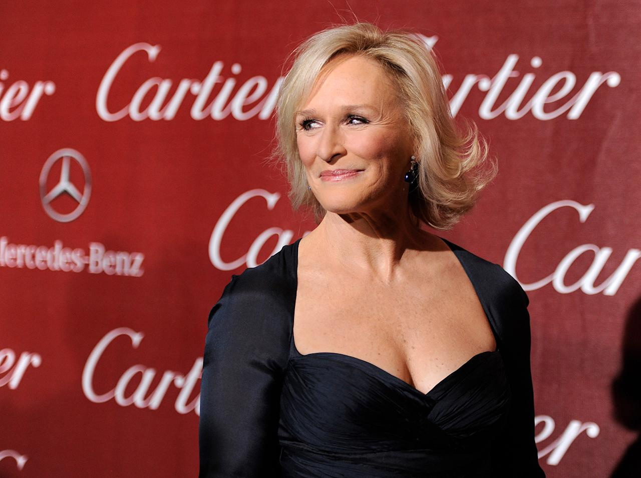 """Glenn Close, with hat and tie, starred in the Oscar favorite """"Albert Nobbs."""""""