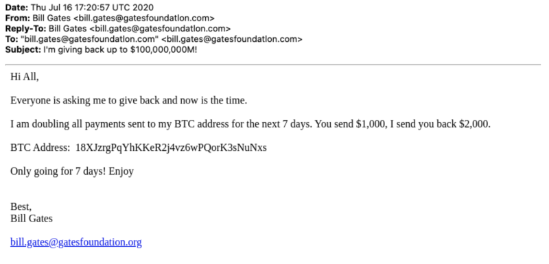 A screenshot of the Gates scam email (Area 1)