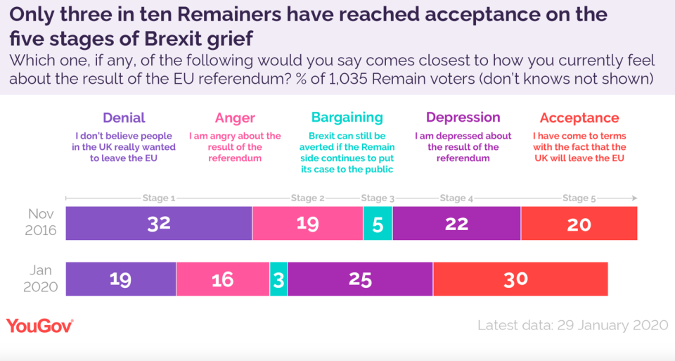 The stages of Brexit grief for Remain supporters (YouGov)