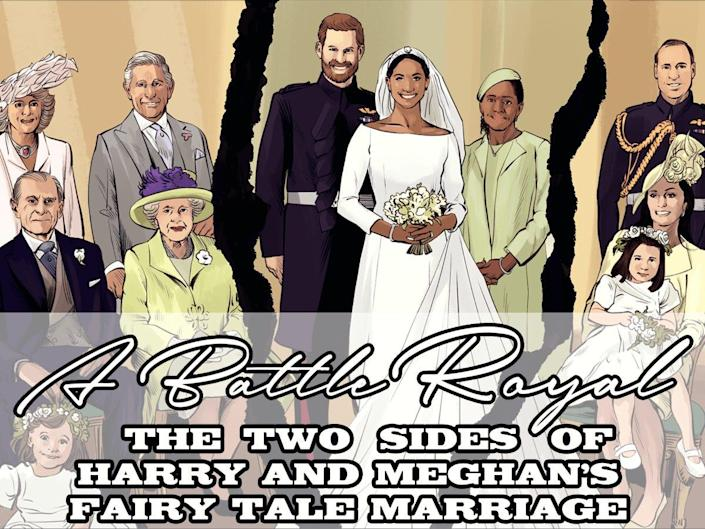 An illustration of the Royal Family sitting for a photograph at Harry and Meghan's wedding