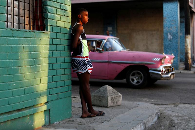 A boy wears the U.S. colours in Havana, Cuba