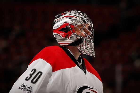 "Goaltender <a class=""link rapid-noclick-resp"" href=""/nhl/players/3164/"" data-ylk=""slk:Cam Ward"">Cam Ward</a> #30 of the <a class=""link rapid-noclick-resp"" href=""/nhl/teams/car/"" data-ylk=""slk:Carolina Hurricanes"">Carolina Hurricanes</a> skates back to the net after a break in the action against the Florida Panthers at the BB&T Center on March 21, 2017 in Sunrise, Florida. (Getty Images)"