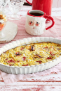 """<p>Prep this quiche ahead of time so all you have to do on Thanksgiving morning is pour the mixture into a baking dish and pop in the oven.</p><p><strong><a href=""""https://www.countryliving.com/food-drinks/a29628727/crustless-ham-and-leek-quiche-recipe/"""" rel=""""nofollow noopener"""" target=""""_blank"""" data-ylk=""""slk:Get the recipe"""" class=""""link rapid-noclick-resp"""">Get the recipe</a>.</strong></p><p><strong><a class=""""link rapid-noclick-resp"""" href=""""https://www.amazon.com/Krokori-Rectangular-Bakeware-Ceramic-Lasagna/dp/B07RQFVQ6Q/ref=sr_1_1_sspa?tag=syn-yahoo-20&ascsubtag=%5Bartid%7C10050.g.2144%5Bsrc%7Cyahoo-us"""" rel=""""nofollow noopener"""" target=""""_blank"""" data-ylk=""""slk:SHOP BAKING DISHES"""">SHOP BAKING DISHES</a><br></strong></p>"""