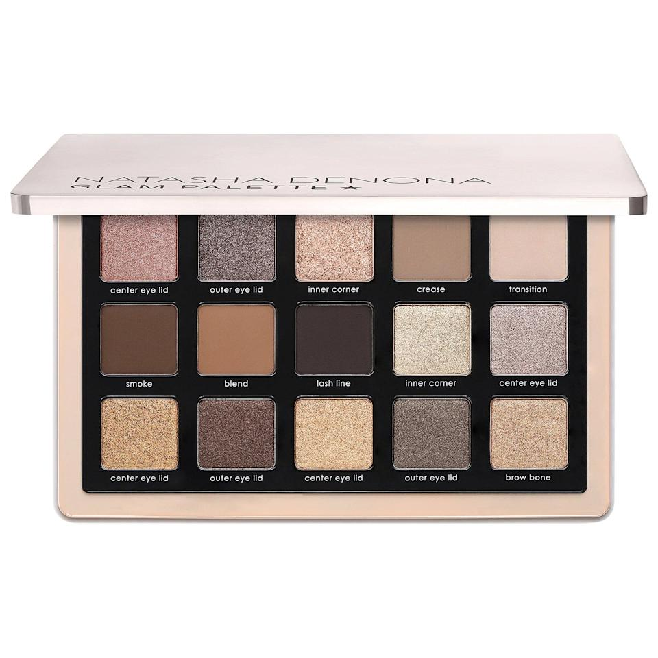 "<h3>Natasha Denona Glam Eyeshadow Palette</h3><br>It's not just another <a href=""https://www.refinery29.com/en-us/nude-eyeshadow-palettes"" rel=""nofollow noopener"" target=""_blank"" data-ylk=""slk:neutral eyeshadow palette"" class=""link rapid-noclick-resp"">neutral eyeshadow palette</a>. This 15-pan gem contains a beautiful mix of matte, shimmer, and sparkle shades, and the cooler tones feel <em>so</em> fresh in a sea of earth tones.<br><br><strong>Natasha Denona</strong> Glam Eyeshadow Palette, $, available at <a href=""https://go.skimresources.com/?id=30283X879131&url=https%3A%2F%2Ffave.co%2F2JnxLf9"" rel=""nofollow noopener"" target=""_blank"" data-ylk=""slk:Sephora"" class=""link rapid-noclick-resp"">Sephora</a>"