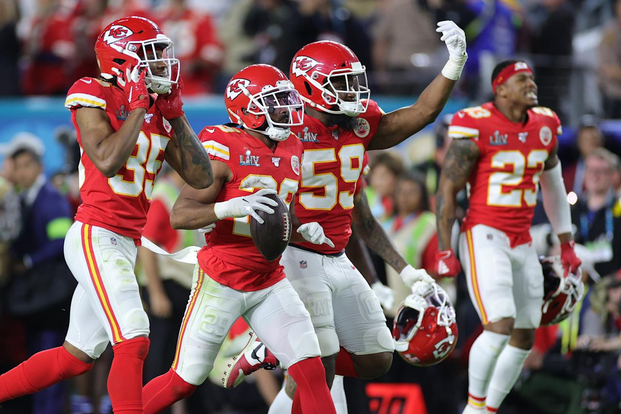 MIAMI, FLORIDA - FEBRUARY 02: Kendall Fuller #29 of the Kansas City Chiefs celebrates after a interception against the San Francisco 49ers during the fourth quarter in Super Bowl LIV at Hard Rock Stadium on February 02, 2020 in Miami, Florida. (Photo by Maddie Meyer/Getty Images)