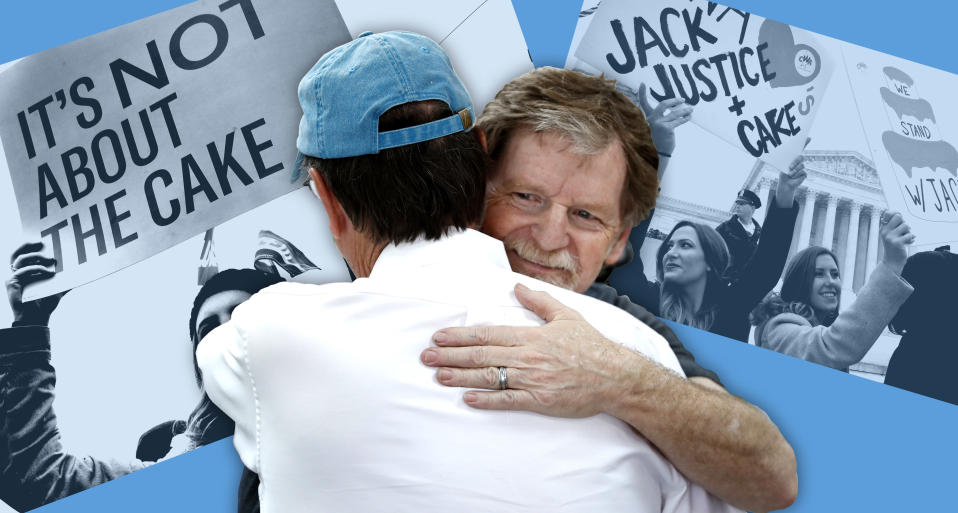 Jack Phillips, owner of Masterpiece Cakeshop, right, gets a hug after the U.S. Supreme Court ruled on June 4, 2018, that he could refuse to make a wedding cake for a same-sex couple. Background photos: Demonstrators outside the Supreme Court in December 2017. (Photos: Jacquelyn Martin/AP, David Zalubowski/AP, Jacquelyn Martin/AP)