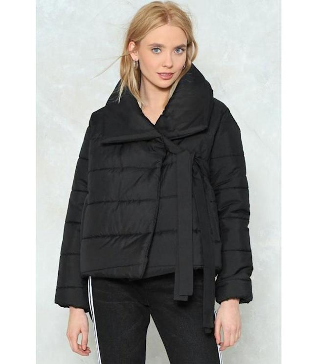 "<p>Padded Jacket, $90 (on sale $27), <a href=""http://www.nastygal.com/quilt-while-the-going-is-good-padded-jacket/AGG90064-1.html"" rel=""nofollow noopener"" target=""_blank"" data-ylk=""slk:nastygal.com"" class=""link rapid-noclick-resp"">nastygal.com</a> </p>"