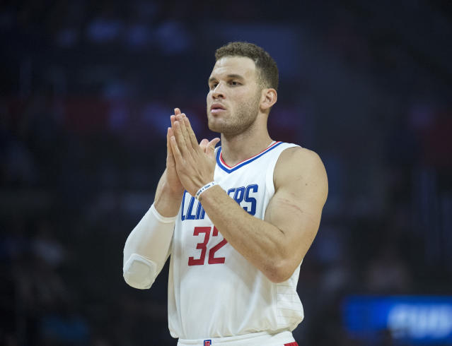"<a class=""link rapid-noclick-resp"" href=""/nba/players/4561/"" data-ylk=""slk:Blake Griffin"">Blake Griffin</a> highlights this week's look at recent fantasy risers and fallers (AP Photo/Kyusung Gong)"