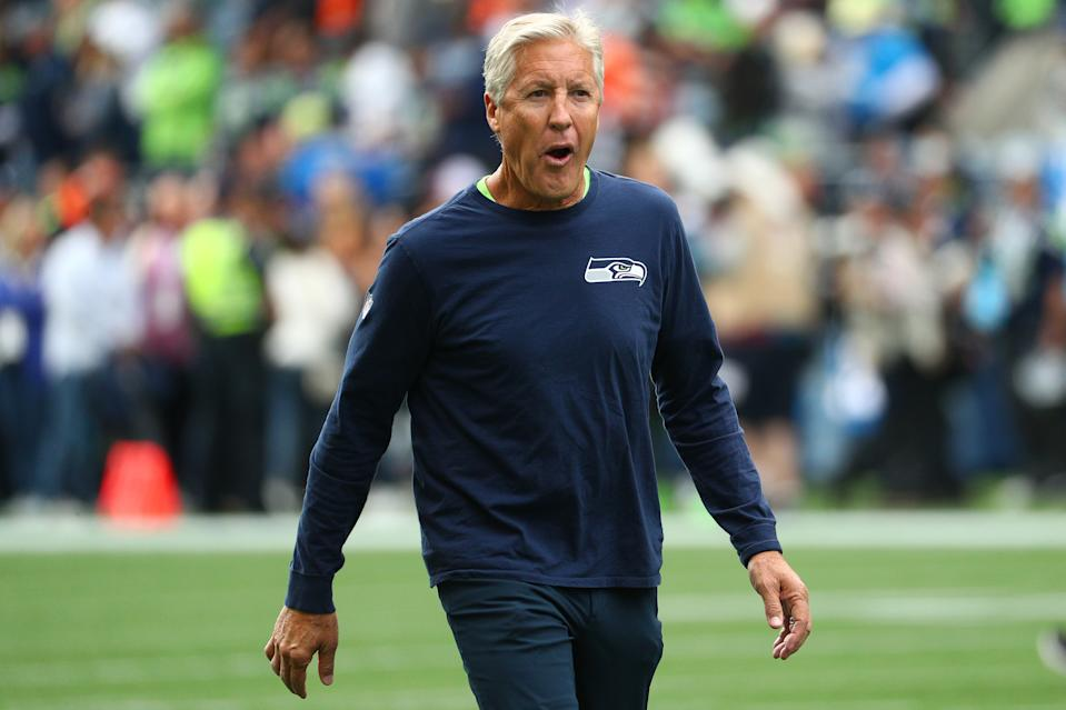 SEATTLE, WASHINGTON - SEPTEMBER 08: Head Coach Pete Carroll of the Seattle Seahawks looks on prior to taking on the Cincinnati Bengals during their game at CenturyLink Field on September 08, 2019 in Seattle, Washington. (Photo by Abbie Parr/Getty Images)