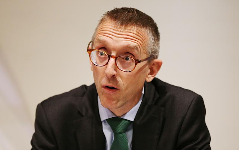 Deputy Governor for Prudential Regulation and Chief Executive Officer of the Prudential Regulation Authority Sam Woods speaks during the Bank of England's financial stability report at the Bank of England in the City of London. (Photo by Jonathan Brady/PA Images via Getty Images)
