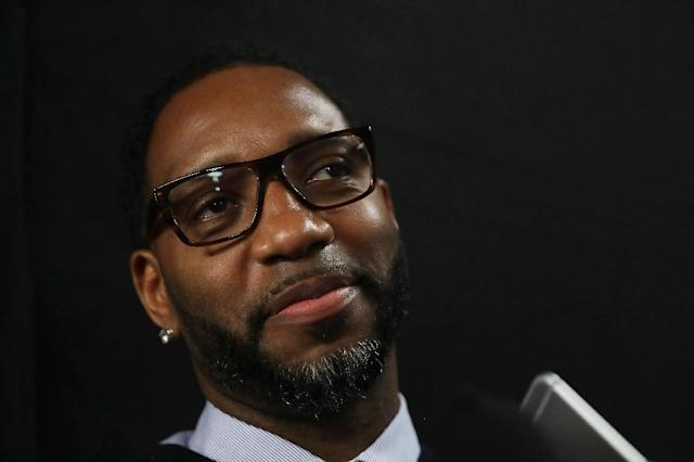 Tracy McGrady is interviewed during the 2017 Naismith Memorial Basketball Hall of Fame finalist announcement at Smoothie King Center on February 18, 2017 in New Orleans, Louisiana (AFP Photo/RONALD MARTINEZ)