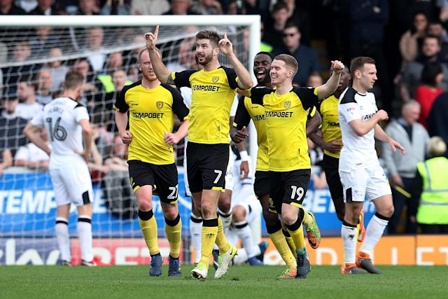 "Soccer Football - Championship - Burton Albion vs Derby County - Pirelli Stadium, Burton-on-Trent, Britain - April 14, 2018 Burton Albion's Luke Murphy celebrates with team mates after scoring their second goal Action Images/John Clifton EDITORIAL USE ONLY. No use with unauthorized audio, video, data, fixture lists, club/league logos or ""live"" services. Online in-match use limited to 75 images, no video emulation. No use in betting, games or single club/league/player publications. Please contact your account representative for further details."