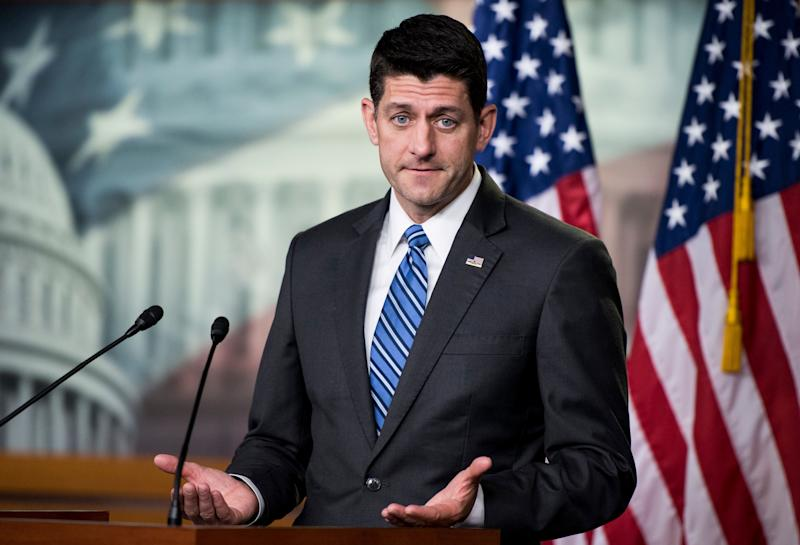 Speaker of the House Paul Ryan (R-Wis.) holds his weekly press conference in the Capitol on May 17. (Photo: Bill Clark via Getty Images)