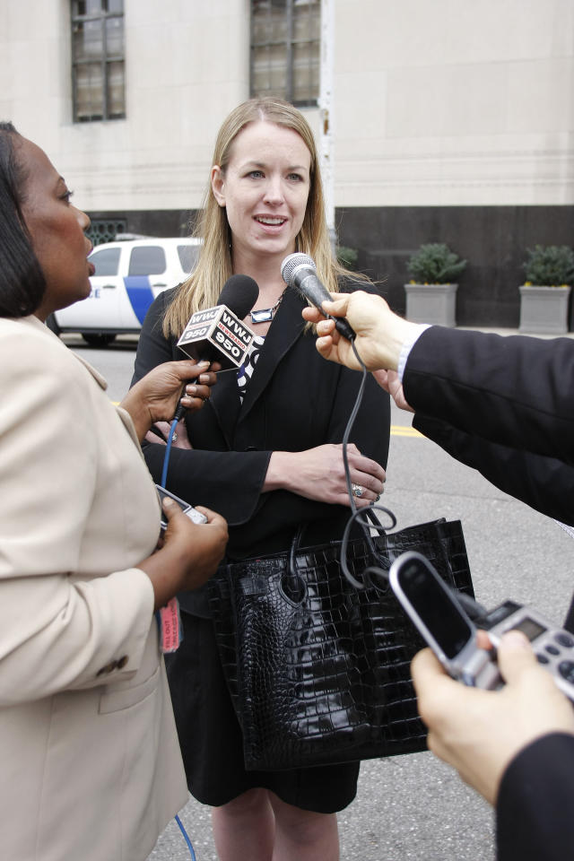 DETROIT - OCTOBER 12:  Lori Haskell of Newport, Michigan speaks with the media after Umar Farouk Abdulmutallab, known as the underwear bomber, pleaded guilty to all charges against him October 12, 2011 at the Federal Courthouse in Detroit, Michigan. Haskell was a passenger on Northwest Airlines Flight 253 when Abdulmutallab tried to blow up the plane on Christmas day 2009. Abdulmutallab is scheduled for sentencing in January 12, 2012.  (photo by Bill Pugliano/Getty Images)
