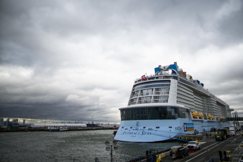 BAYONNE, NJ - FEBRUARY 07: The Royal Caribbean Cruise Ship Anthem of the Seas is docked at Cape Liberty port on February 7, 2020 in Bayonne, New Jersey. (Photo by Eduardo Munoz Alvarez/Getty Images)